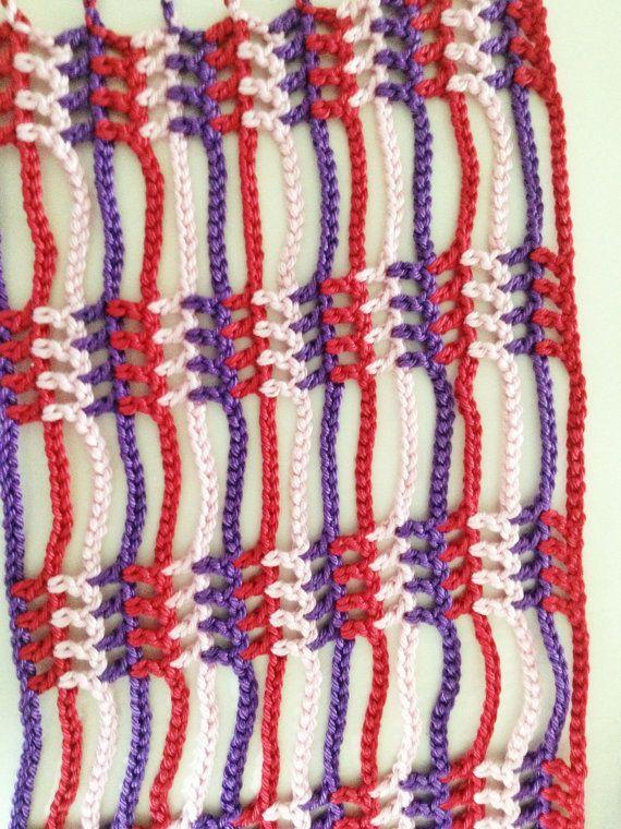 Violets and roses beaded crochet summer scarf | Bufandas de verano ...