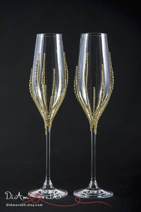 115f8b02de8d Personalized Wedding Champagne Glasses Bling Wedding Glasses