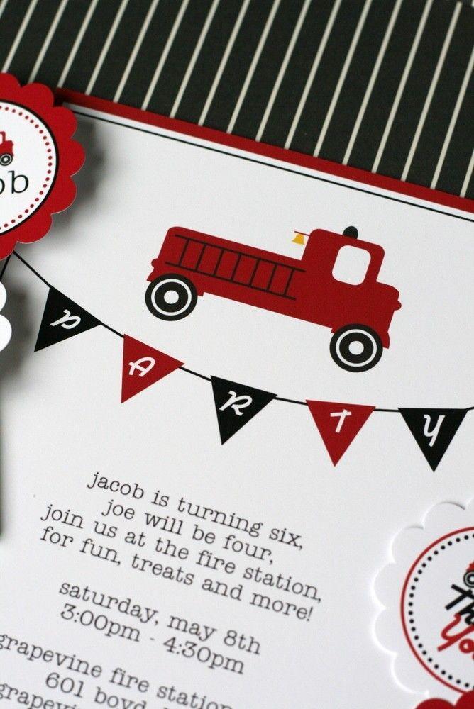 Fire Truck Party - Printable Birthday Party Invitation - The TomKat Studio. $15.50, via Etsy.