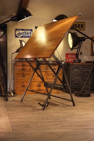 table a dessin heliolithe ancienne industrial furniture. Black Bedroom Furniture Sets. Home Design Ideas