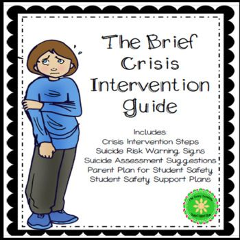 Crisis and Suicide Intervention Guide and Safety Plan School - safety plans