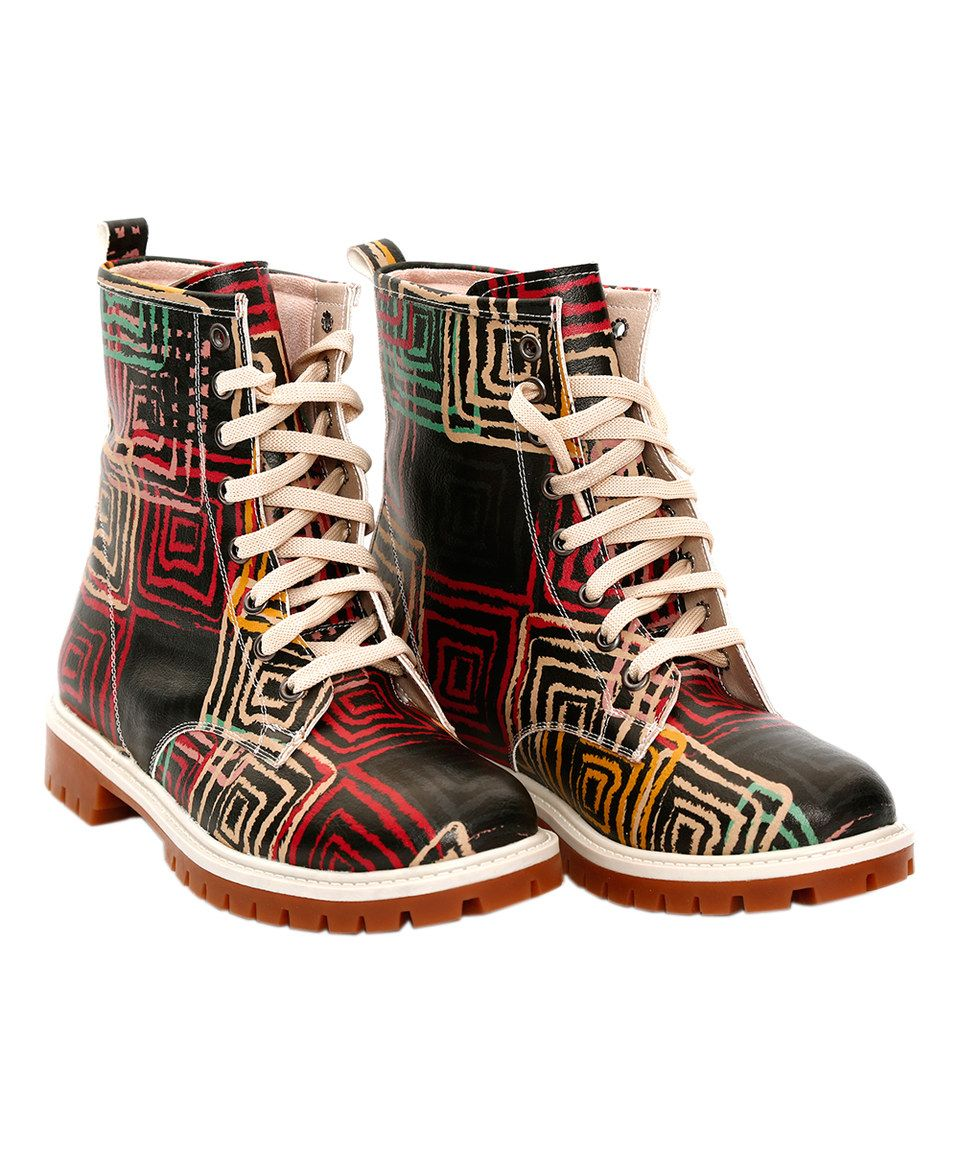 Look what I found on #zulily! Black & Red Squares Combat Boot by Goby #zulilyfinds