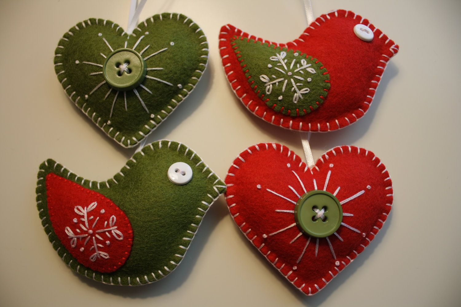 Handmade christmas ornaments on etsy - Christmas Felt Ornaments Birds And Hearts