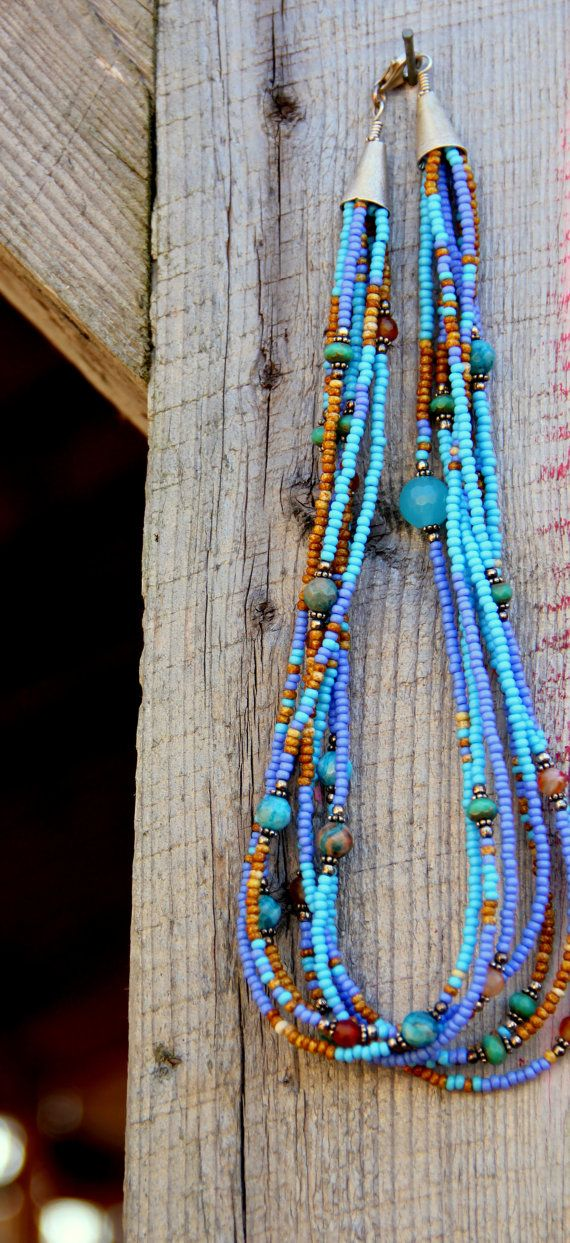 Turquoise blue beaded rope set Ethnic bracelet and necklace with pendant  beaded