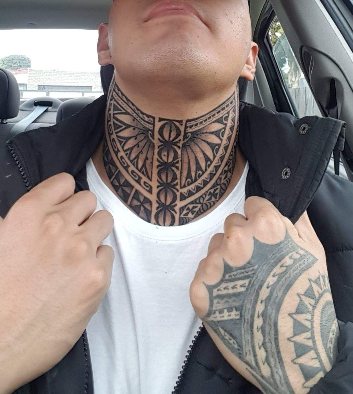 My Cousins Polynesian Mix Neck Tattoo Neck Tattoo Tattoos Throat Tattoo