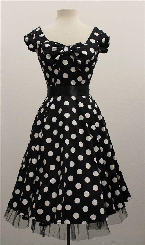 H & R London Black & White Big Polka Dot 50's Swing Dress