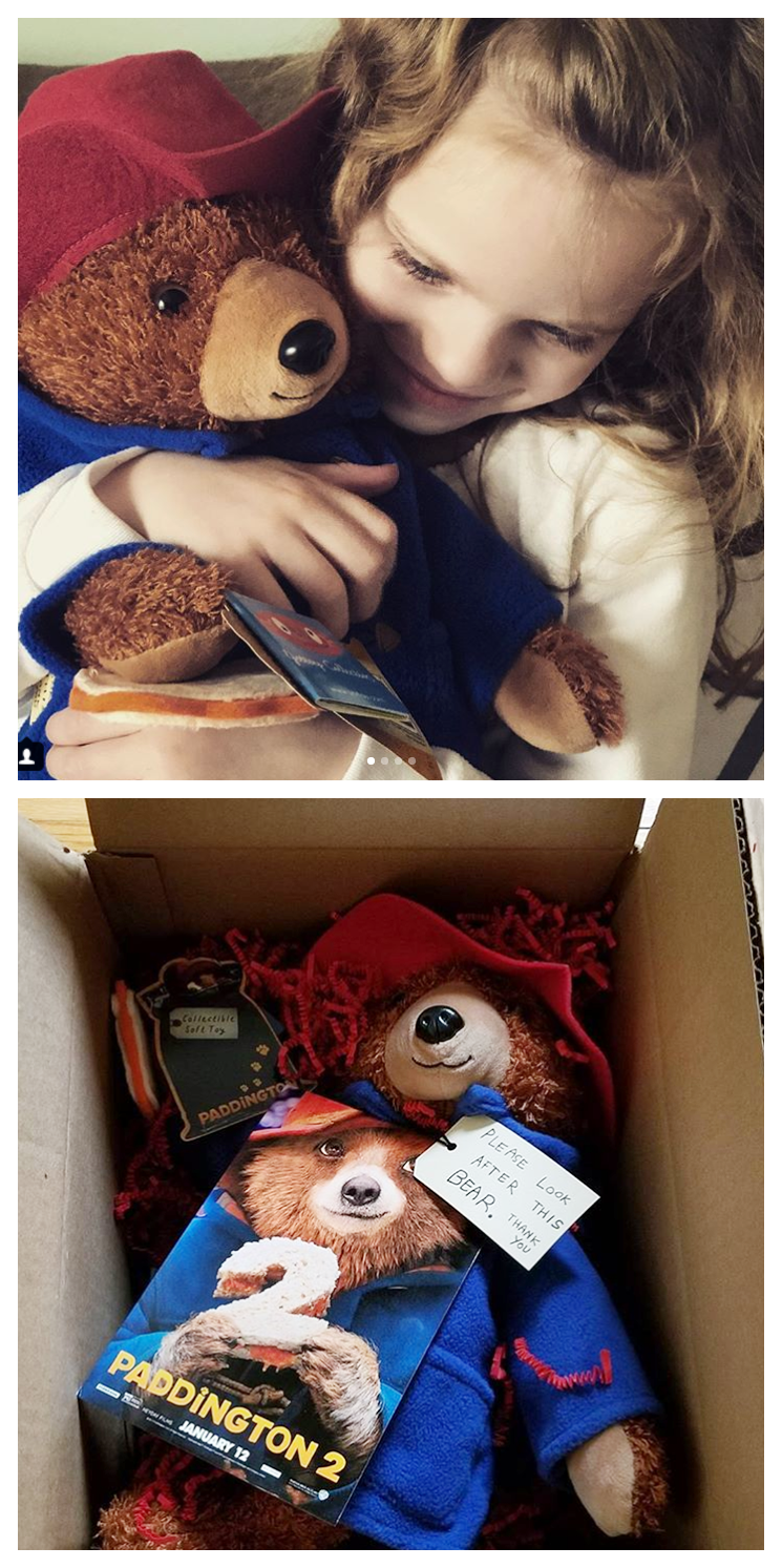 Paddington delights his friends @amomsimpression and @geekdad248 with sweet hugs and a gift or two. | Paddington 2 - in theaters now