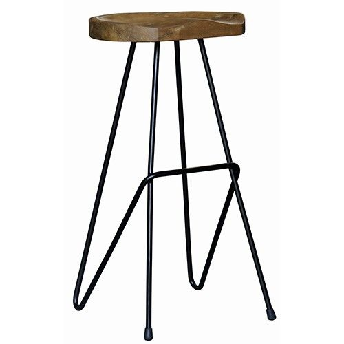 Tommer Tall Saddle Barstool Recycled Timber
