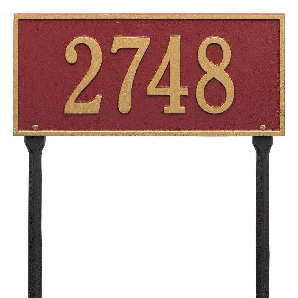 Hartford Rectangular Red/Gold Standard Lawn 1-Line Address Plaque