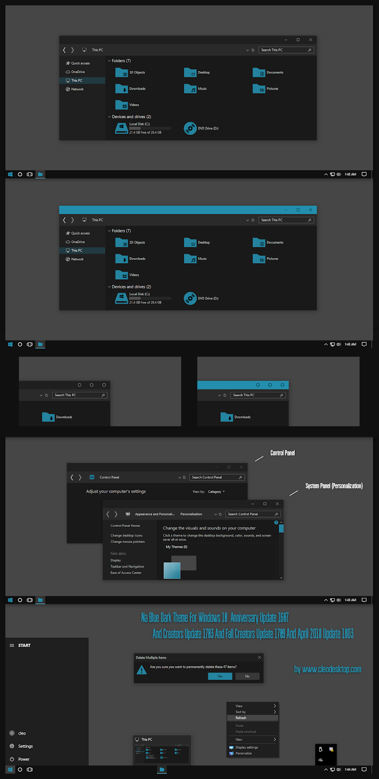 windows10 themes i cleodesktop na blue dark theme windows10 april