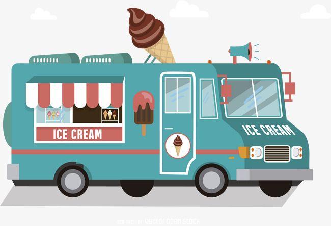 Vector Ice Cream Truck Ice Cream Truck Creative Background Ice Clipart