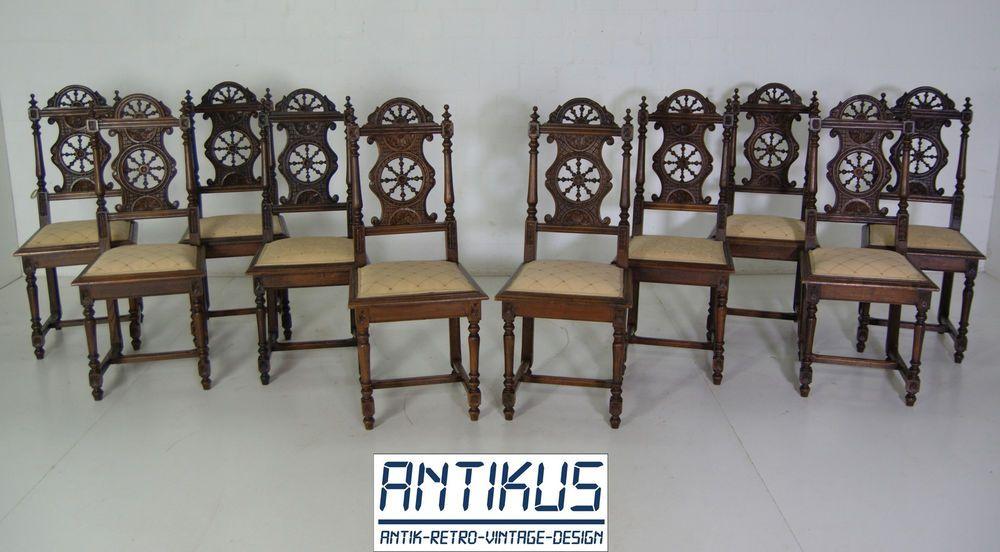 10er Satz Esszimmer Stühle Antik Bretonisch Um 1900 Kastanie Massiv 10  Stühle