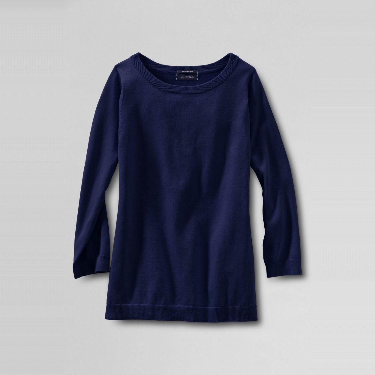 Lands' End Blue women's fine gauge supima® crew neck- at Debenhams.com