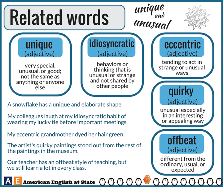 This graphic shows synonyms for unique and unusual. Unique and Unusual  Related Words  This graphic shows synonyms for