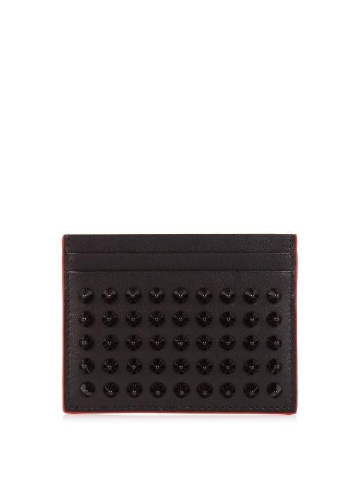 CHRISTIAN LOUBOUTIN Kios spike-embellished leather cardholder. # christianlouboutin #cardholder