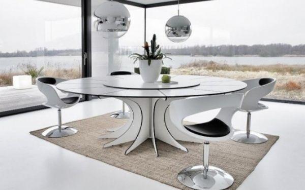moderne esszimmerm bel ideen wei er runder esstisch. Black Bedroom Furniture Sets. Home Design Ideas