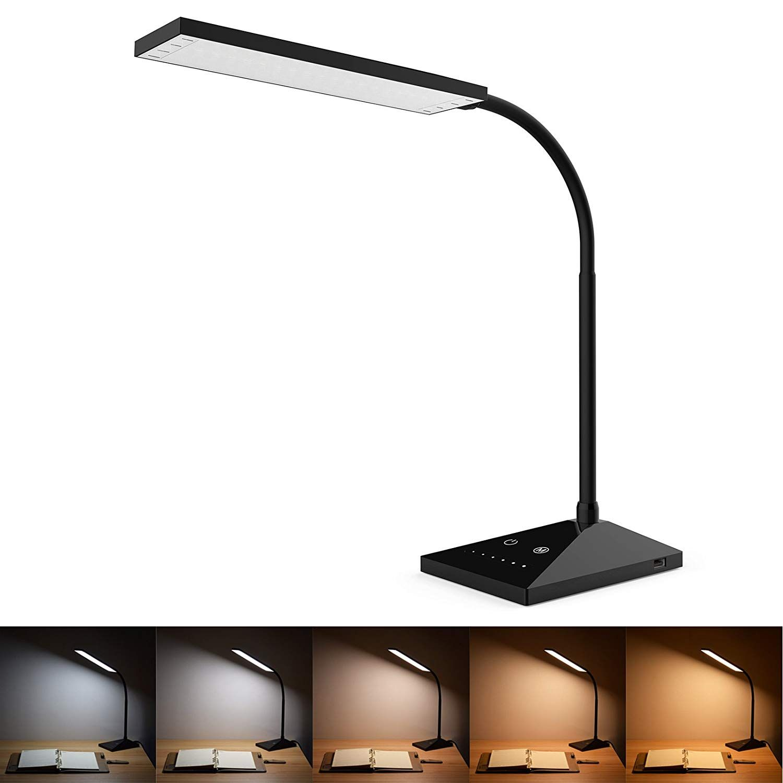 Juanwe Led Dimmable 12w Desk Lamp 5v 1a Usb Charging Port 5 Color Temperatures With 7 Brightness Levels Touch C White Desk Lamps Desk Light Black Desk Lamps