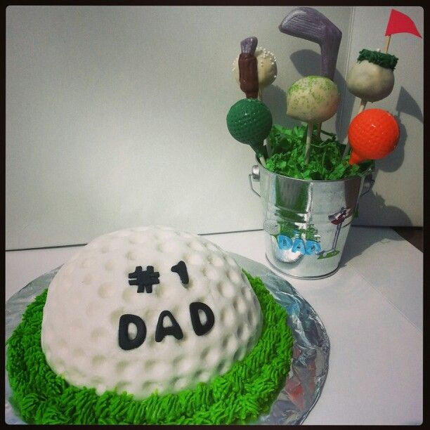 Cake Decorating Balls Golf Cake And Bucket Of Cake Pop Balls Fathers Day  Did I Do