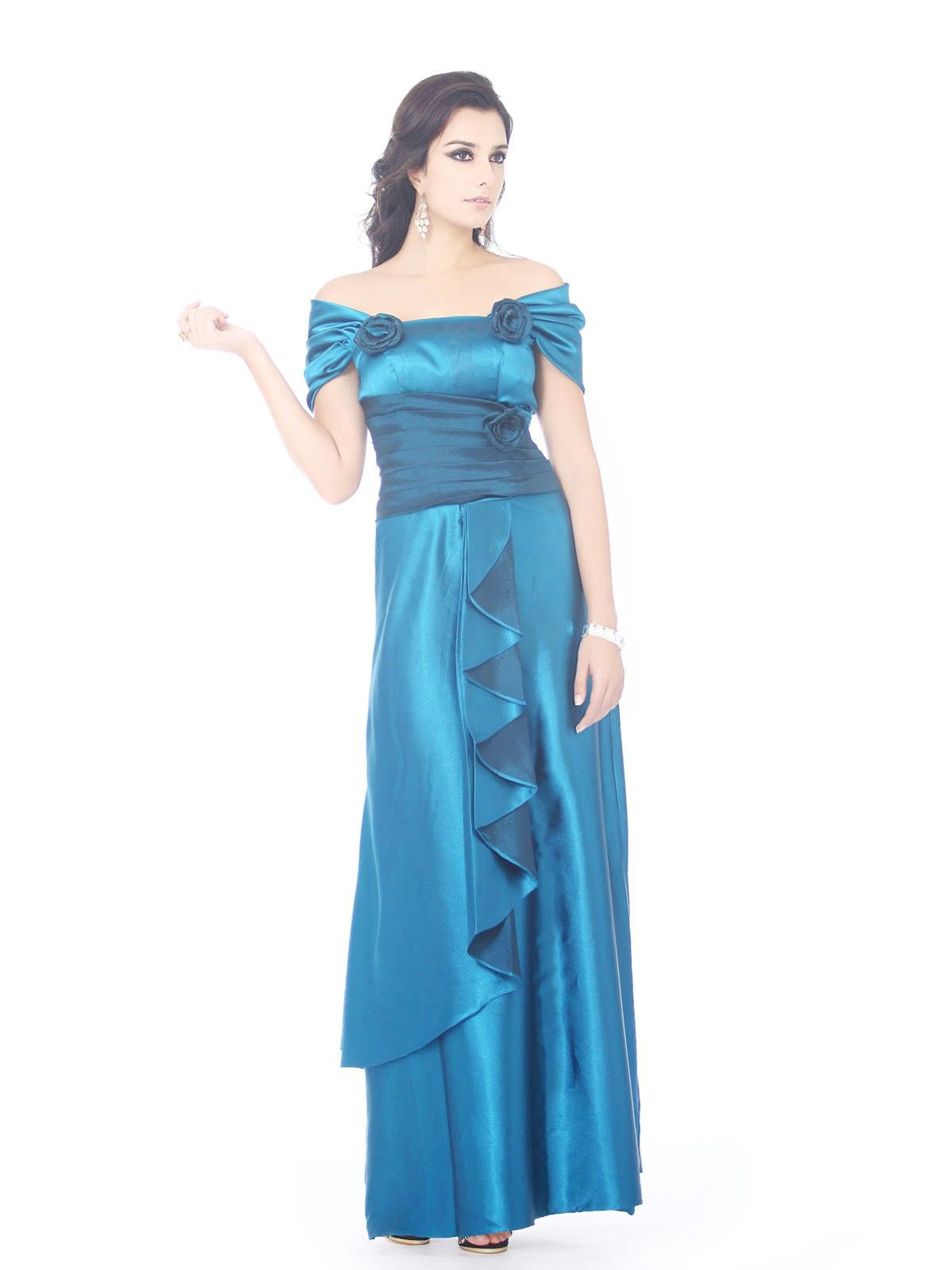 ca56f93ca09 Off the Shoulder Silk Like Satin A line Short Sleeve Mother of the Bride  Dress