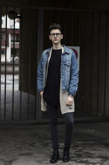 Get this look: http://lb.nu/look/8632267  More looks by Luka Lajic: http://lb.nu/lukalajic  Items in this look:  Replay Denim Jacket, Bershka Cardigan, H&M Tee, H&M Pants, H&M Shoes   #grunge #minimal #street #streetstyle #denim #cardigan #boy