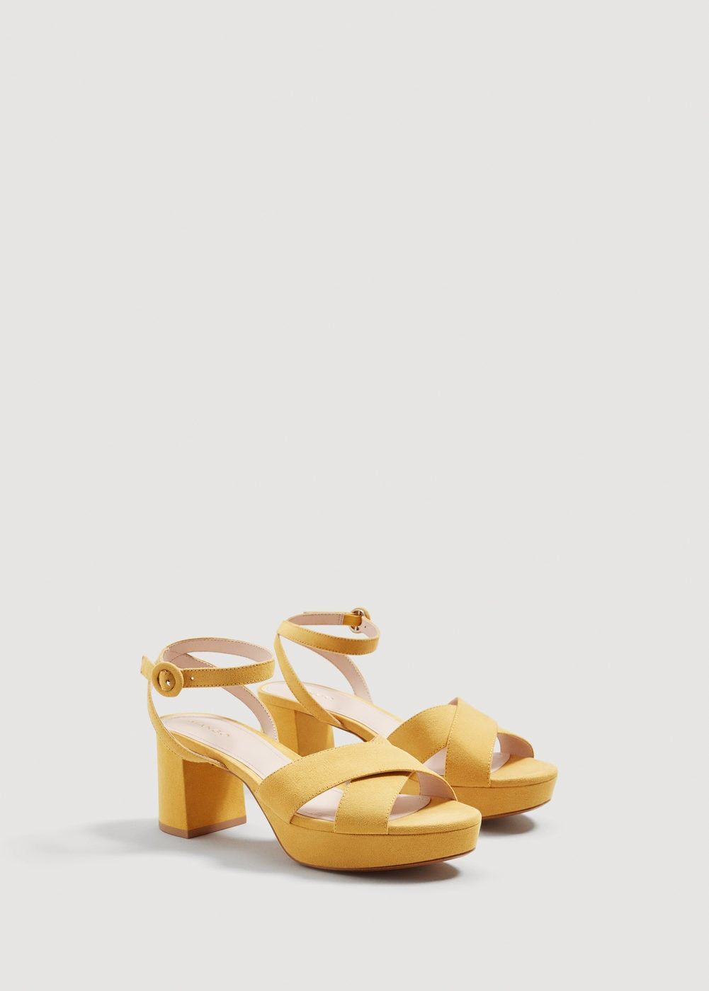 Sandalia cruzada plataforma | Sandals, Mango, Yellow shoes