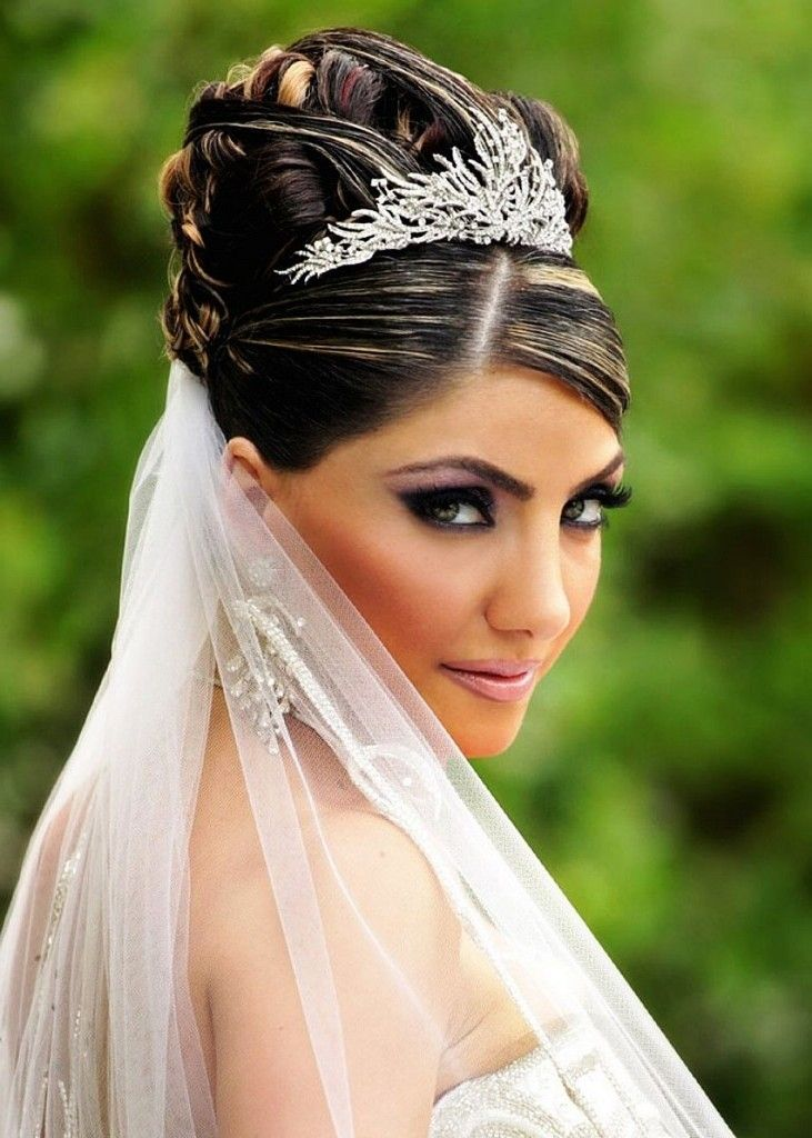 Updos With Tiara And Veil
