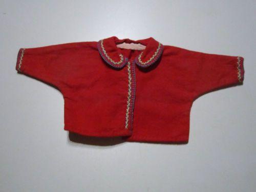 Schoene-alte-Puppenkleidung-Handbestickte-rote-Jacke