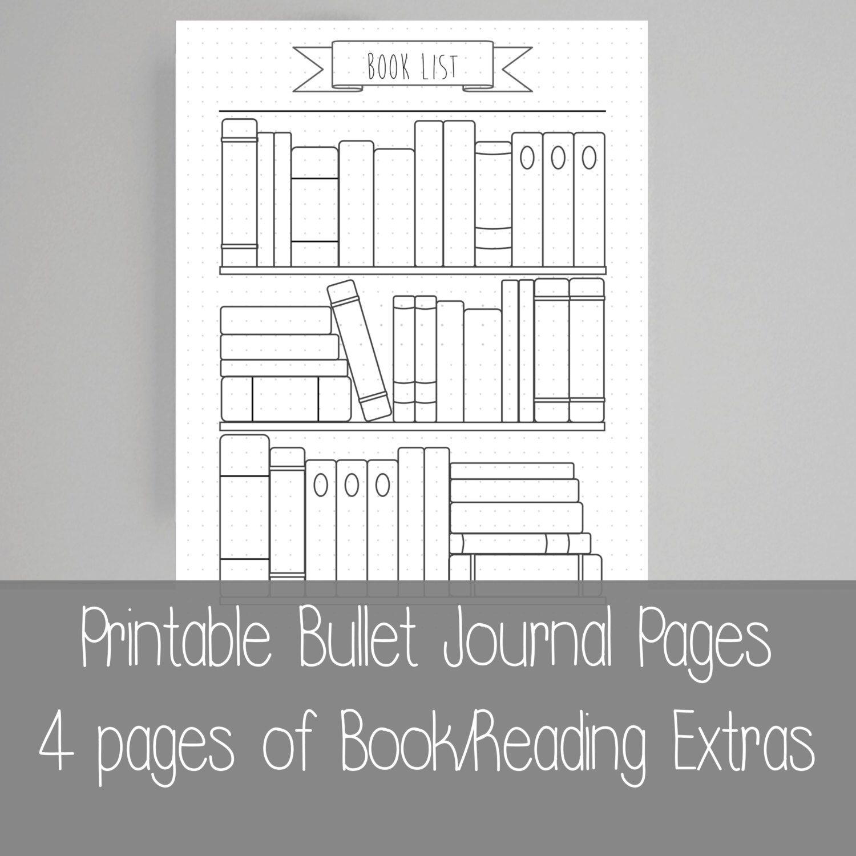Bullet Journal Bookshelf Books Reading Printable Etsy Bullet Journal Bookshelf Bullet Journal Reading List Bullet Journal Books