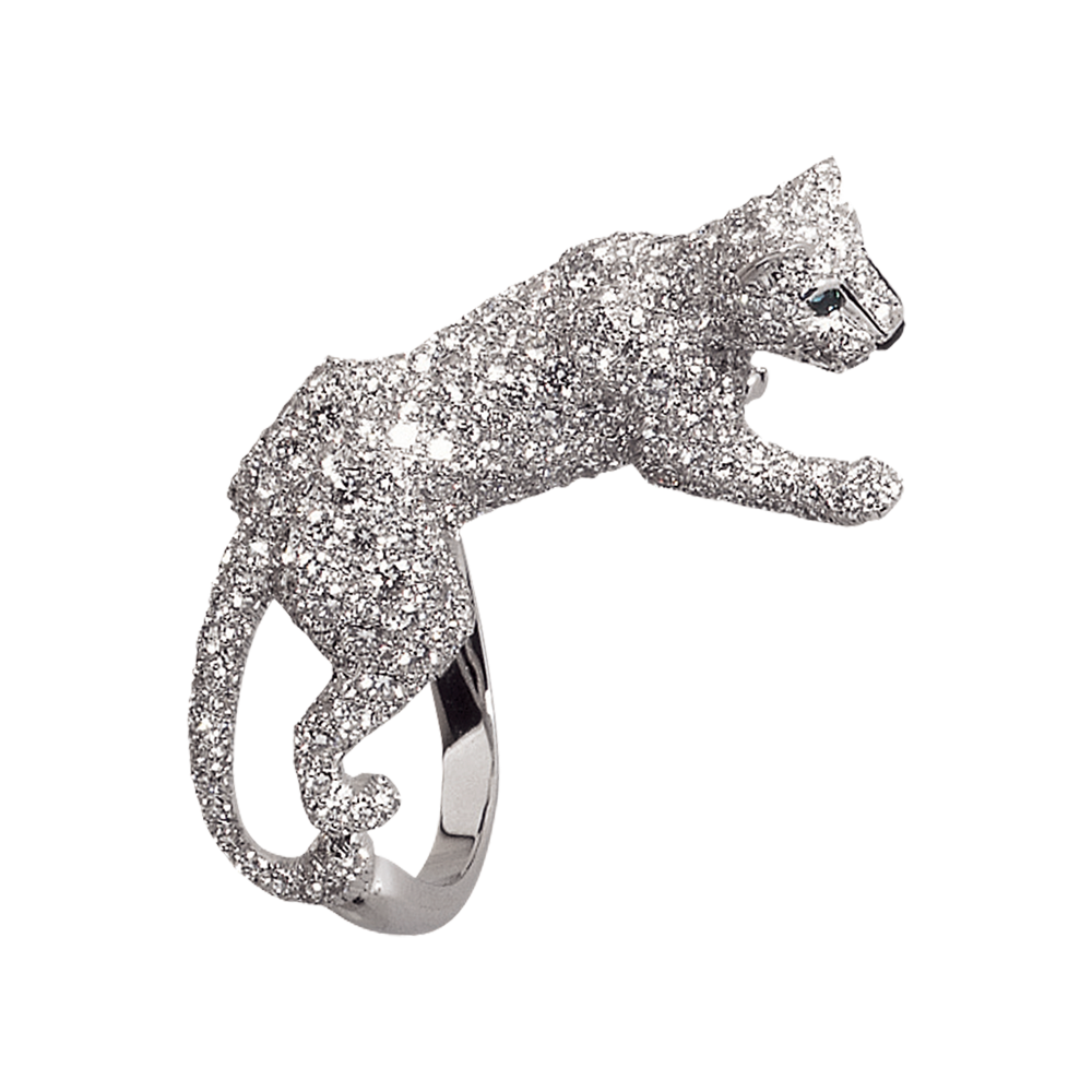 Panthère ring - White gold, diamonds, emeralds, onyx - Fine Rings for women - Cartier