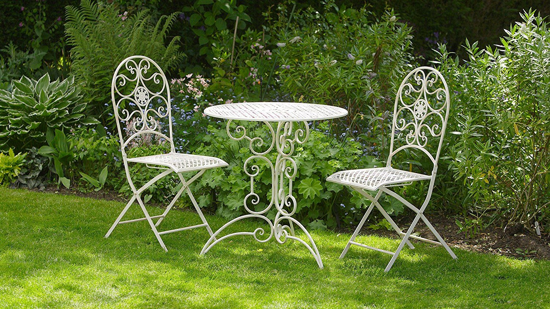 Wondrous Antique White Metal 3 Piece Bistro Style Garden Patio Andrewgaddart Wooden Chair Designs For Living Room Andrewgaddartcom