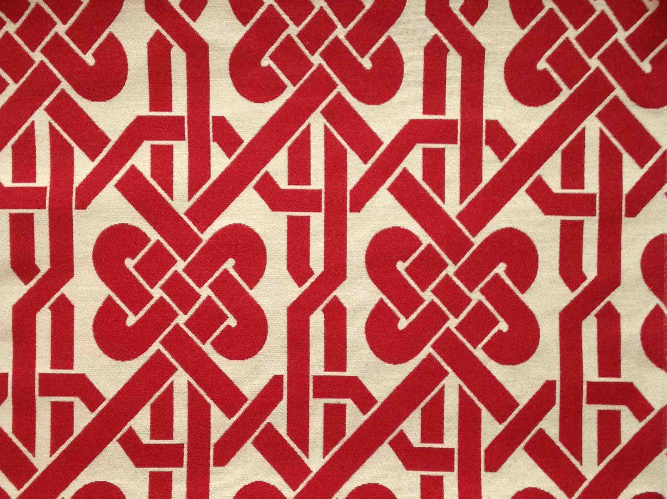 Feng Shui Chinese New Year Red Geometric Knot Chinoiserie Upholstery Fabric