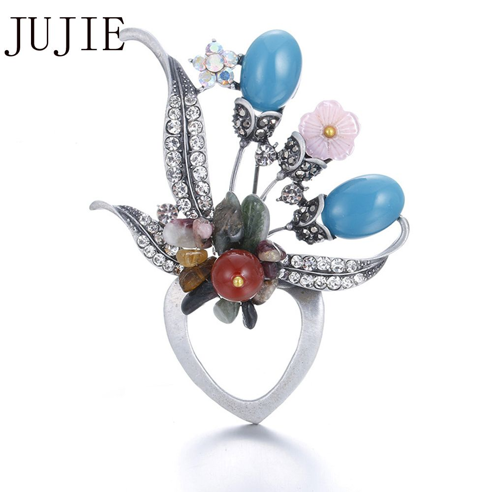 JUJIE Multicolor Flower Brooches For Women 2017 Fashion Rhinestone Brooch  For Wedding Lapel Pins Brooches Nature