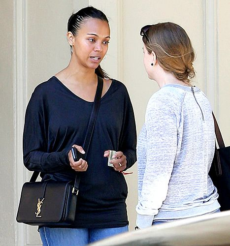 Zoe Saldana stepped out without a stitch of makeup on Tuesday, April 14, in Beverly Hills. The new mom to twins Cy and Bowie, whom she gave birth to in November 2014, was joined by her husband Marco Perego for the daytime outing.