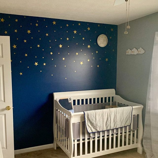 Gold Stars Wall Decals Set for Nursery Decor, Easy Peel