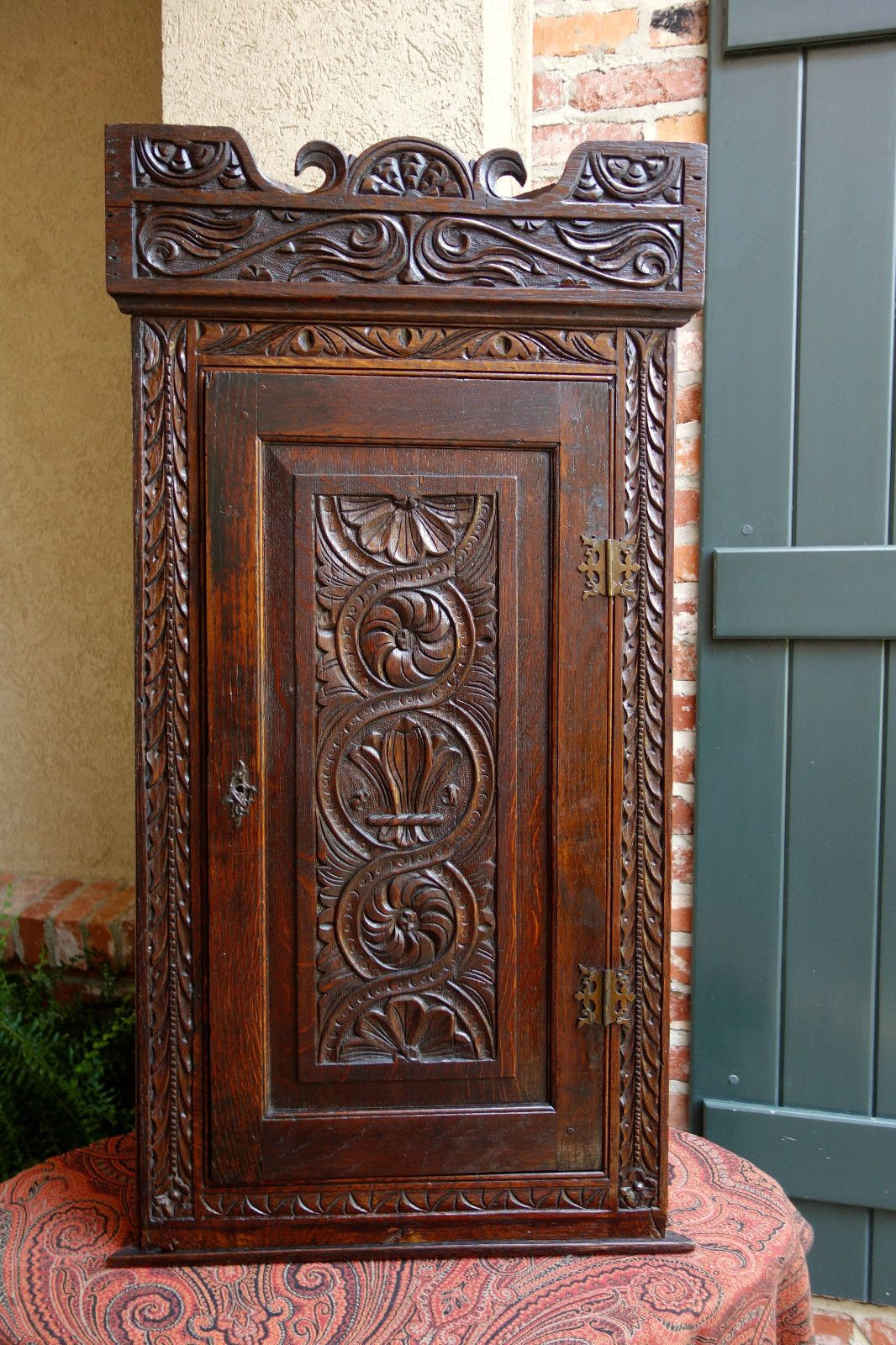 Antique English Dark Oak Carved Corner Cabinet Shelf Wall Or Table Jacobean Ebay