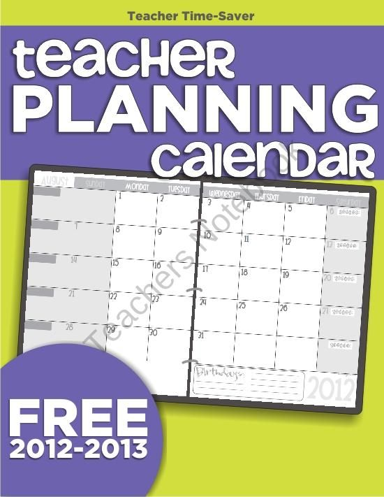 Teacher Planning Calendar Template From