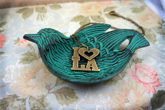 I LOVE LA Necklace Antique Gold  Fight by PaperBirdCreations, $20.00