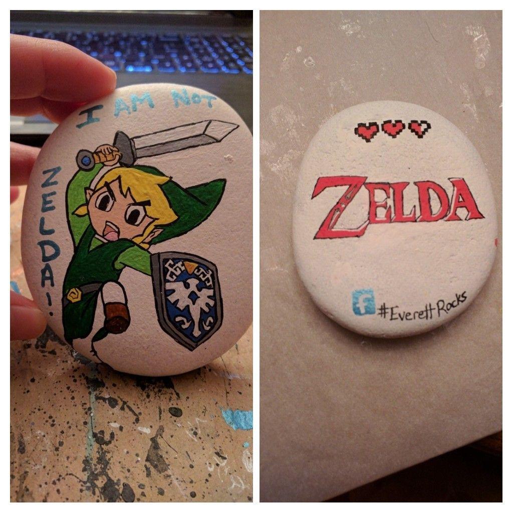 Link Zelda Painted Rock Painted Rocks Rock Painting Designs Lady Bug Painted Rocks