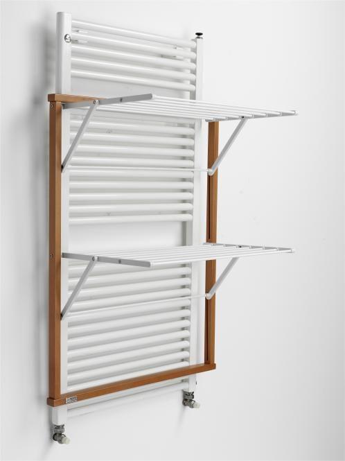 Photo of Appendiabiti per radiatori a parete, con struttura in legno di faggio, colori ciliegio