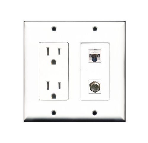 Ethernet And Coax Wall Plate Best Riteav  2 X 15 Amp 125V Power Outlet 1 X Cat5E Ethernet And 1 X Decorating Design