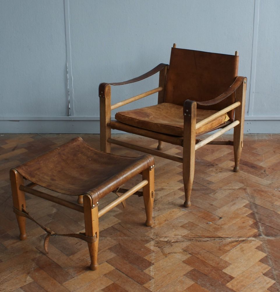 danish oak and leather safari chair by borge mogensen 60s 70s