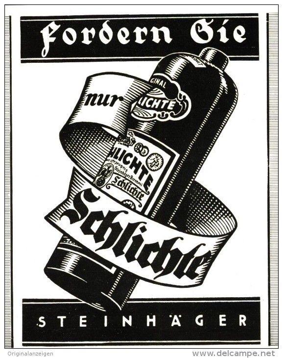 Original-Werbung/ Anzeige 1929 - SCHLICHTE STEINHÄGER  - ca. 85 X 110 mm