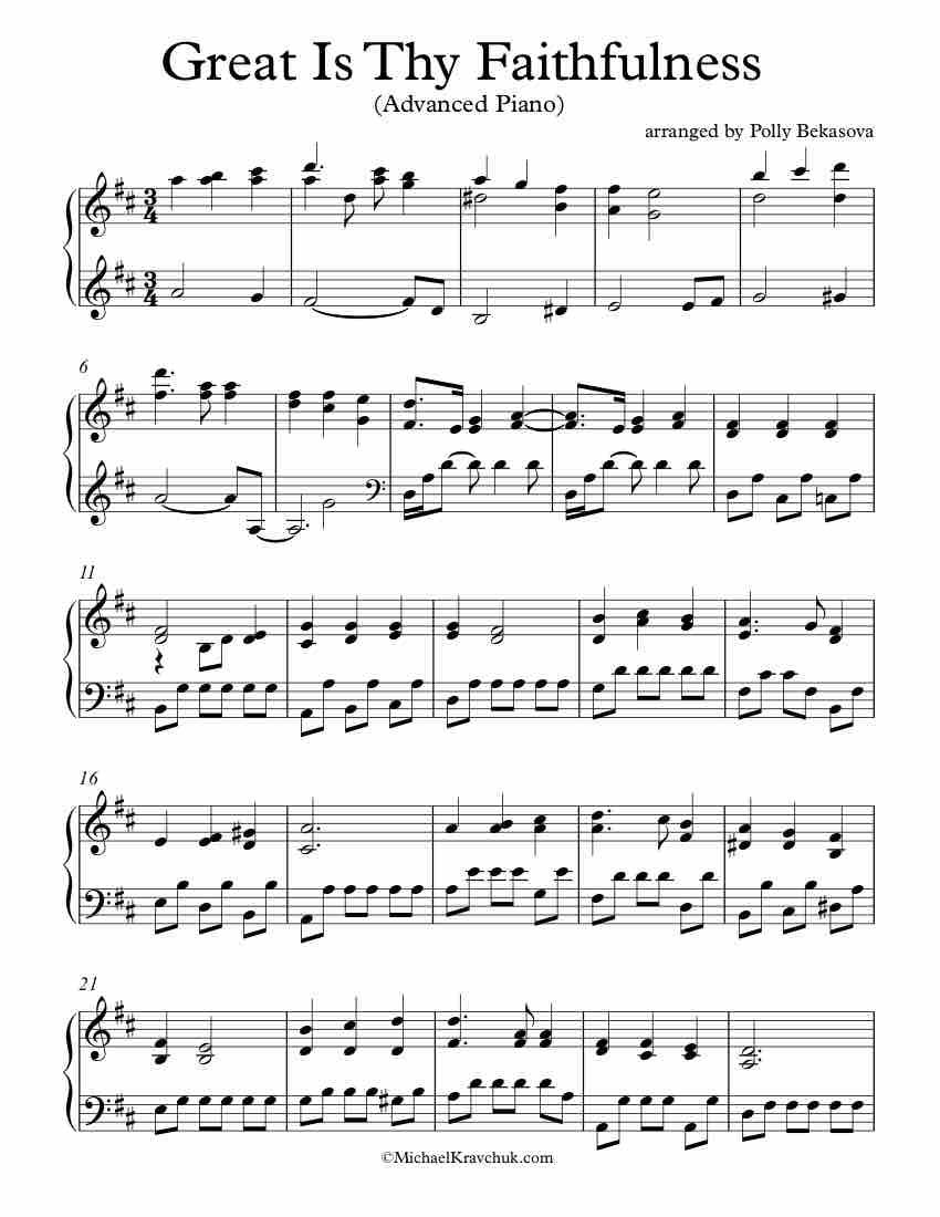 Free Piano Arrangement Sheet Music Great Is Thy Faithfulness Advanced Level Good Luck Piano Sheet Music Free Hymn Sheet Music Sheet Music