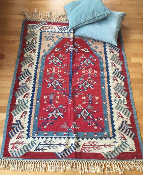 Sarkoy Kilim Unique Flat Woven Turkish Tribal Red Blue