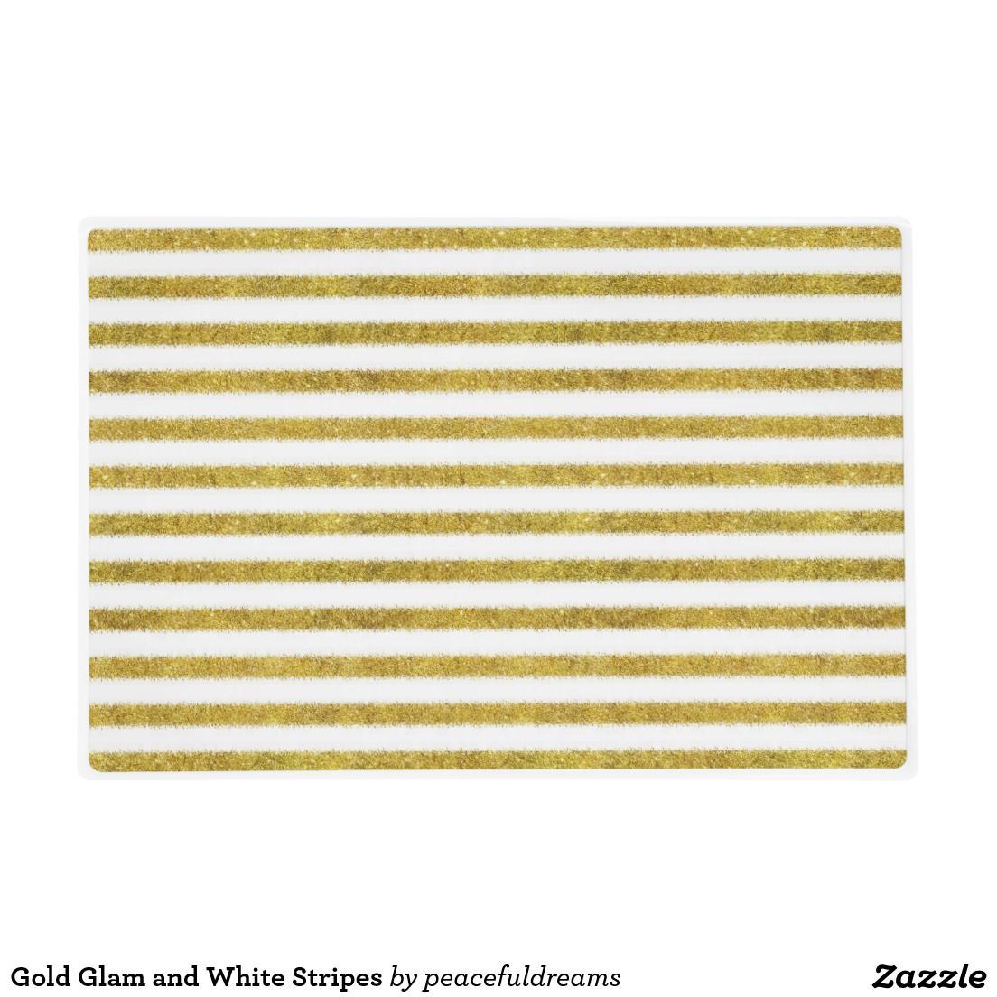 Gold Glam and White Stripes Laminated Placemat