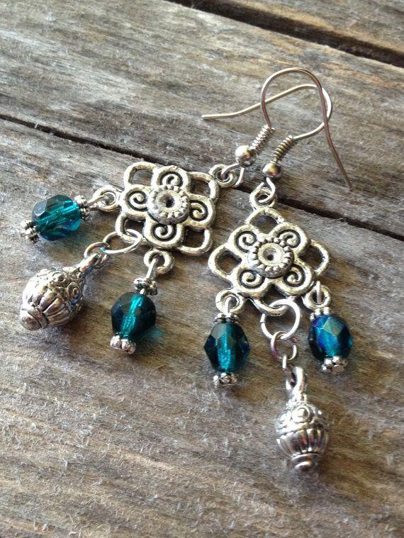 Teal chandelier earrings handmade bohemian by thehippiebohemian teal chandelier earrings handmade bohemian by thehippiebohemian 1900 mozeypictures Images