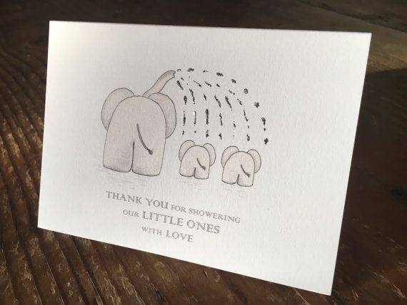 Twins Baby Shower Thank You Cards Gender Neutral Twins Thank You