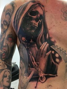 about Muerte Tattoos on Pinterest | Sugar skull tattoos Santa muerte ...