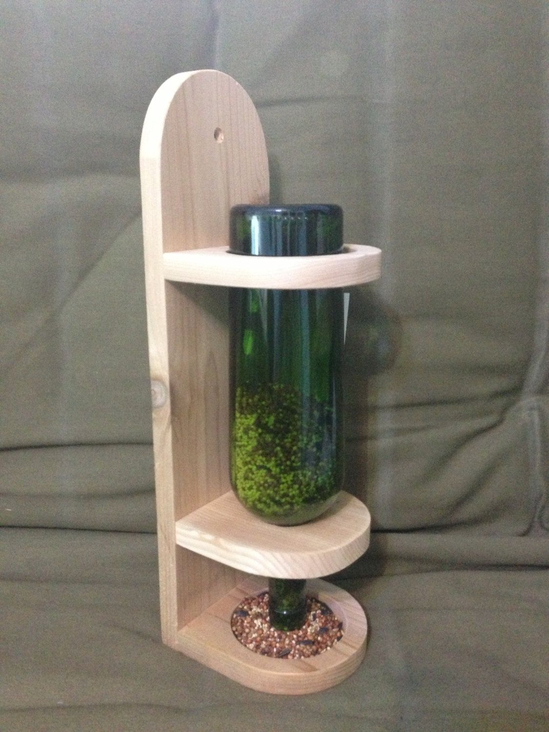 Wine bottle bird feeder by twoshuswoodcrafts on etsy 14 for How to make a bottle bird feeder