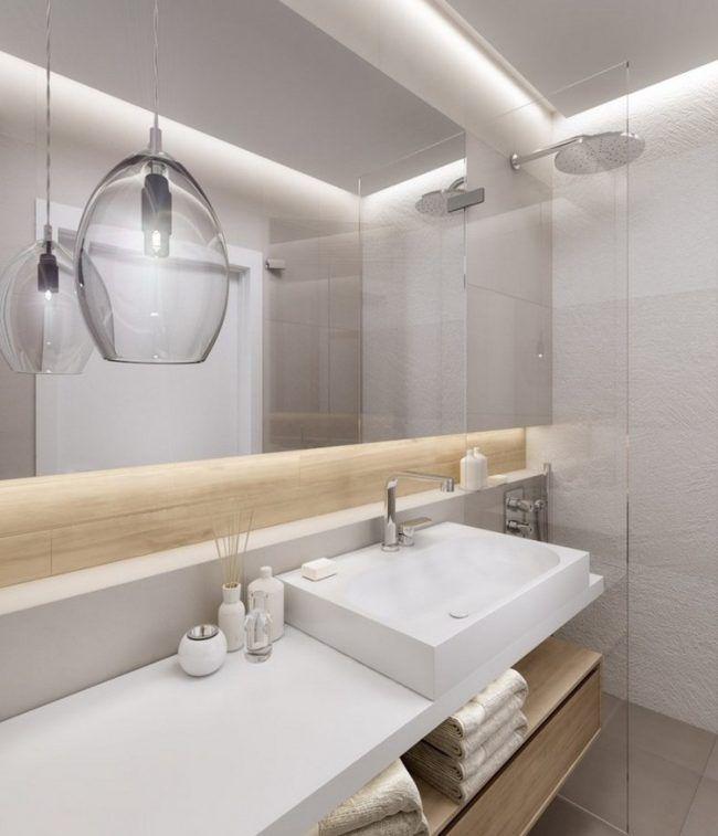 Kleines Bad Einrichten Spiegelschrank Indirekte Beleuchtung Holz Akzente